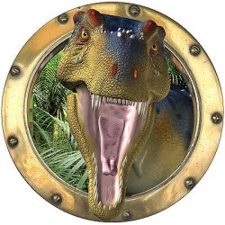 Sticker trompe l'oeil Dinosaure Tyrex réf:hublot 1101