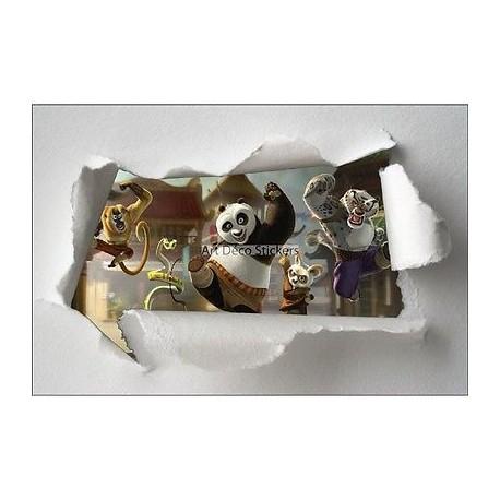Stickers enfant papier déchiré Kun Fu panda réf 7641