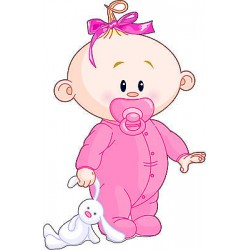 Sticker enfant Bébé fille réf 2525 (Dimensions de 10 cm à 130cm de hauteur)