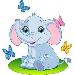 Sticker enfant Elephant réf 2519 (Dimensions de 10 cm à 130cm de hauteur)