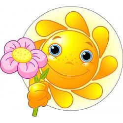 Sticker enfant Fleur soleil réf 2518 (Dimensions de 10 cm à 130cm de hauteur)