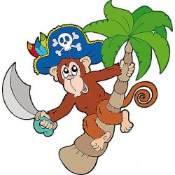 Sticker enfant décoration murale Singe pirate réf 986