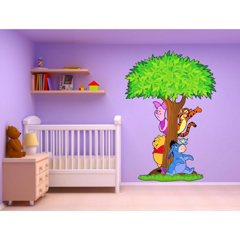 Stickers arbre winnie l 39 ourson 15211 stickers muraux enfant for Decoration licorne chambre