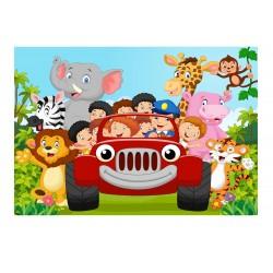 Stickers muraux enfant géant Voiture Animaux jungle 15217+