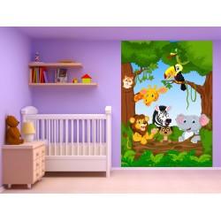 Stickers muraux enfant géant Animaux jungle 15220