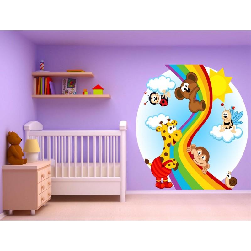 stickers muraux enfant animaux arc en ciel 15236 stickers muraux enfant