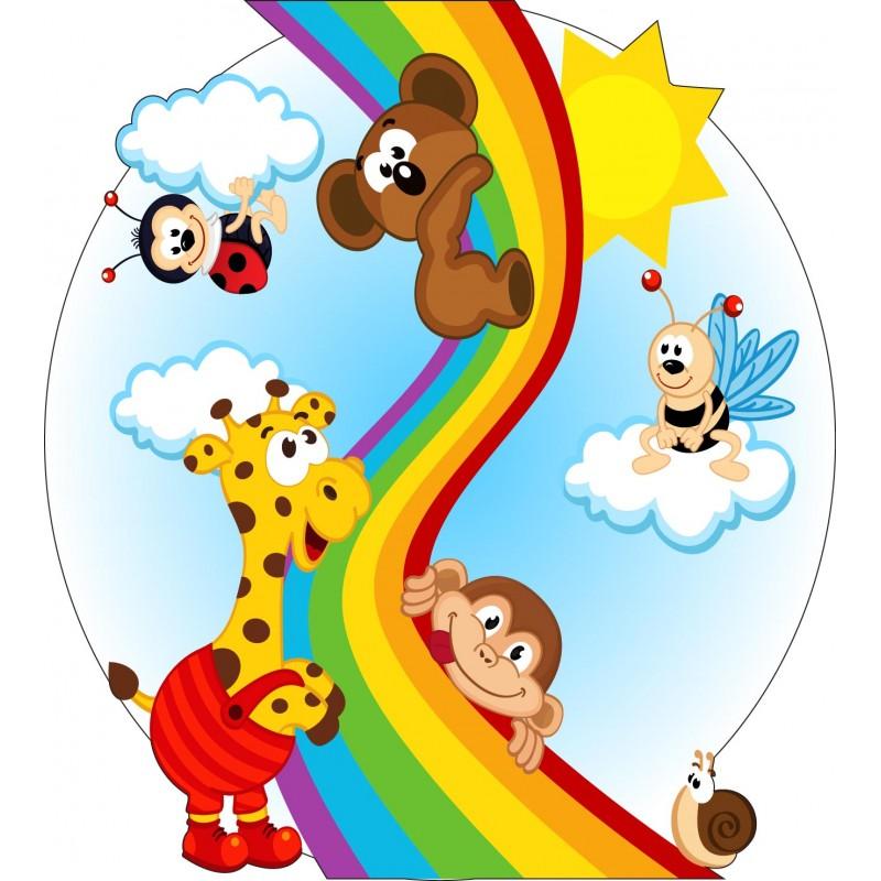 stickers muraux enfant animaux arc en ciel 15236 stickers muraux enfant. Black Bedroom Furniture Sets. Home Design Ideas