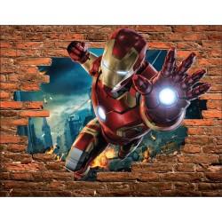 Stickers Trompe l'oeil pierre Iron Man Avengers réf 15088