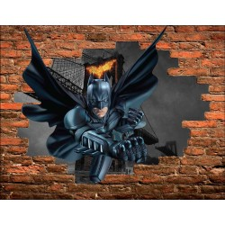 Stickers Trompe l'oeil pierre Batman réf 15086