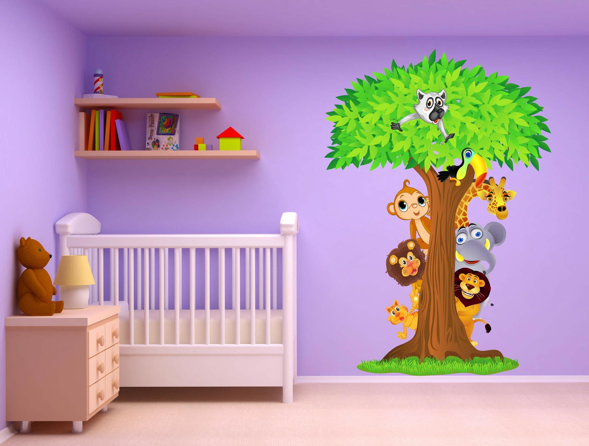 stickers chambre bebe jungle solutions pour la. Black Bedroom Furniture Sets. Home Design Ideas