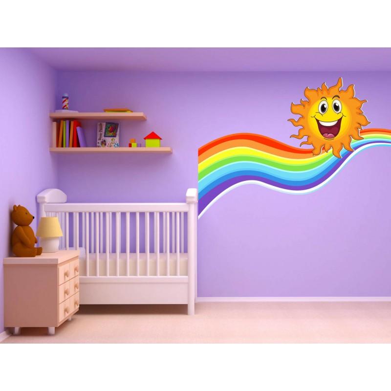stickers autocollant chambre d 39 enfant soleil arc en ciel 17560 stickers muraux enfant. Black Bedroom Furniture Sets. Home Design Ideas
