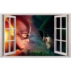 Stickers fenêtre Flash vs Arrow réf 11136