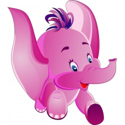 Sticker enfant Bébé Eléphant réf 914 (Dimensions de 10 cm à 130cm de hauteur)