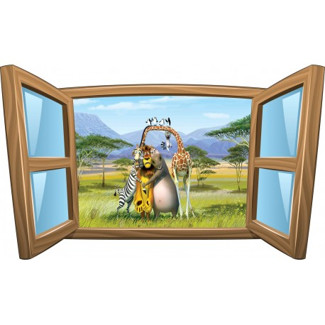 Sticker enfant fenêtre Madagascar réf 977