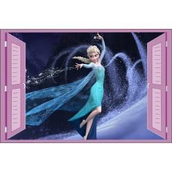 Sticker enfant fenêtre Frozen La Reine des Neiges Elsa réf 932