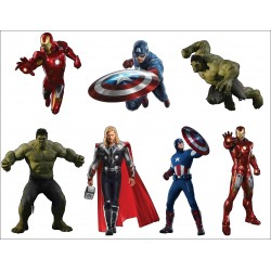 Stickers planche enfant super heros Avengers ref 8870 (7 dimensions)