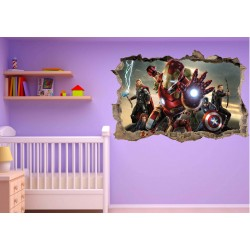 Stickers trompe l'oeil Avengers Iron Man réf 23233