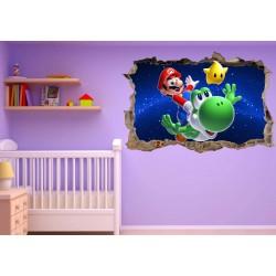 Stickers trompe l'oeil Mario Galaxy réf 23230