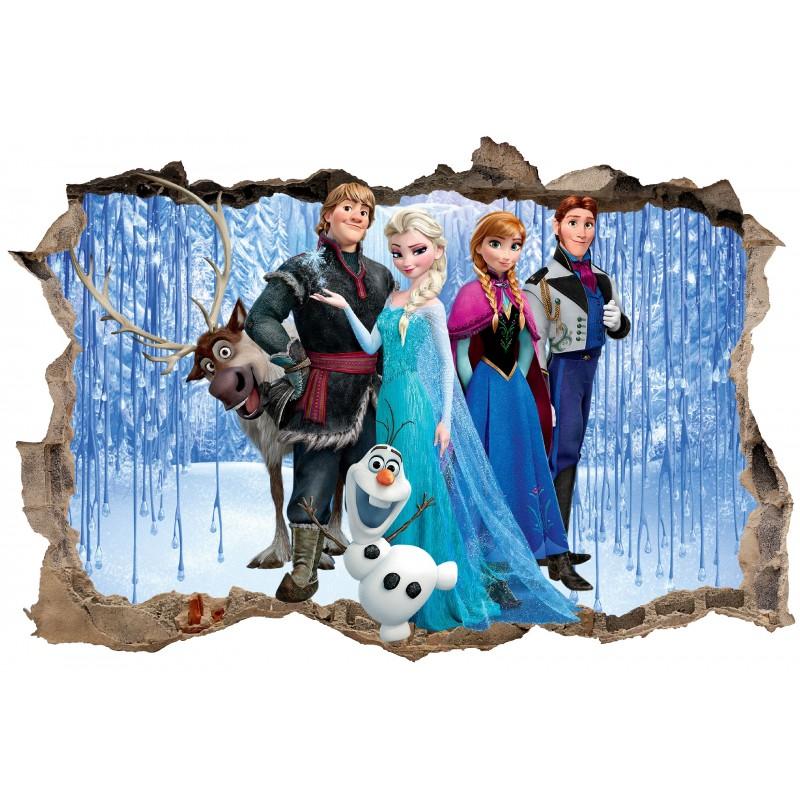 Stickers trompe l 39 oeil frozen la reine des neiges r f - La reine des neiges frozen ...