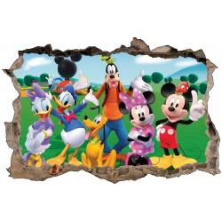 Stickers 3D trompe l'oeil Mickey et ses amis réf 23256