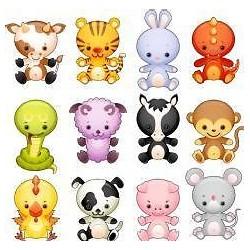 12 stickers enfant animaux