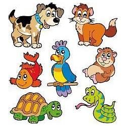 1 planche de 7 stickers enfant animaux 27x30cm E656