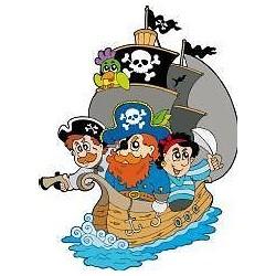 Sticker enfant Bateau et Pirates hauteur 30cm