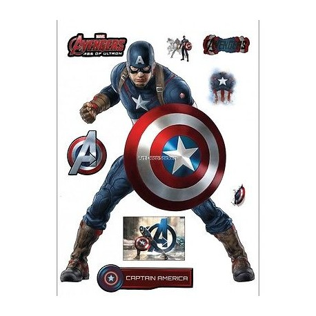Stickers captain america avengers 30x40cm 15034 stickers muraux enfant - The avengers dessin anime ...