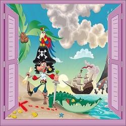 Sticker enfant Pirate fenêtre trompe l'oeil réf 925