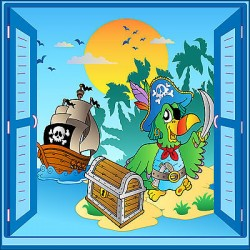 Sticker enfant Pirate fenêtre trompe l'oeil réf 926