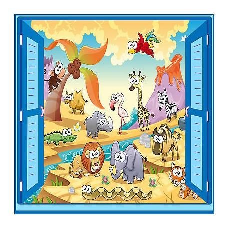 Sticker enfant animaux fenêtre trompe l'oeil réf 930