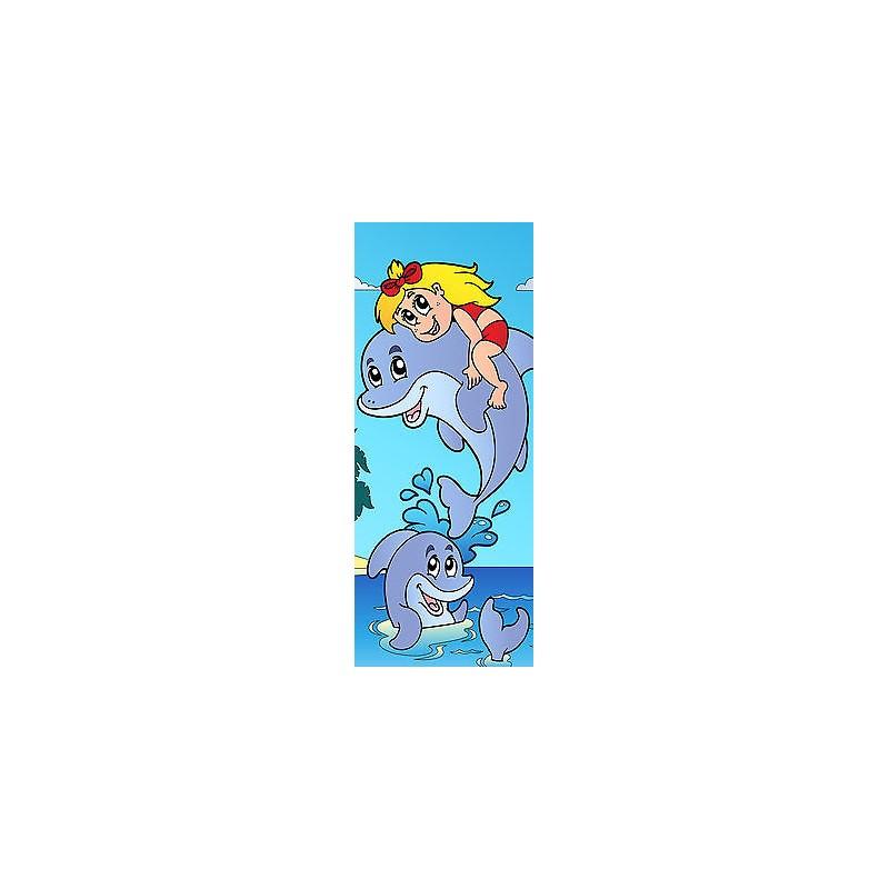 sticker enfant dauphin pour porte plane ou mural r f708. Black Bedroom Furniture Sets. Home Design Ideas