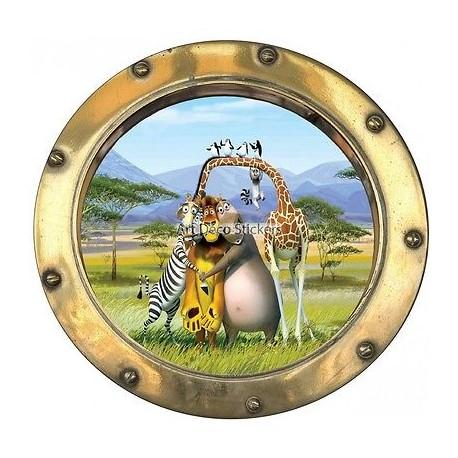 Sticker hublot enfant Madagascar 9523