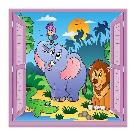 Sticker enfant fenêtre trompe l'oeil éléphant lion perroquet 912