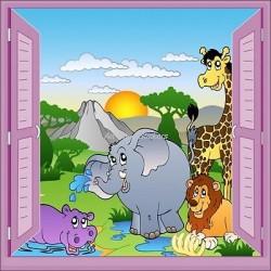 Sticker enfant fenêtre trompe l'oeil animaux safari 906