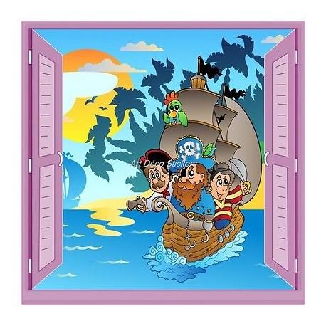 Sticker enfant fenêtre trompe l'oeil Bateau pirates 902
