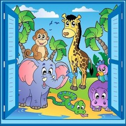 Sticker enfant fenêtre trompe l'oeil animaux 908