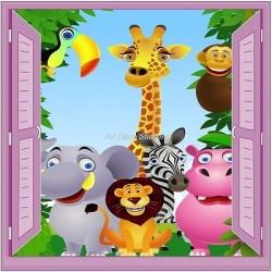 Sticker enfant fenêtre trompe l'oeil animaux de la jungle 903