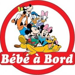 Sticker autocollant enfant Bébé à bord Mickey et ses amis 16x16cm réf 3572