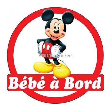 Sticker autocollant enfant Bébé à bord Mickey réf 3569