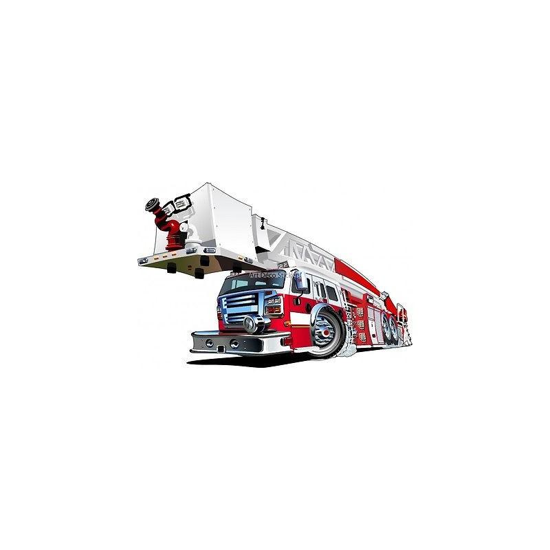 Sticker enfant camion de pompier 3551 stickers muraux enfant - Camion de pompier enfant ...