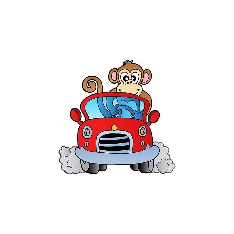 sticker enfant voiture singe 205 stickers muraux enfant. Black Bedroom Furniture Sets. Home Design Ideas