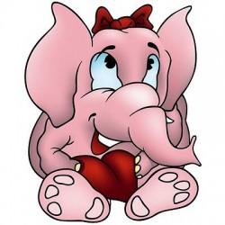 sticker Autocollant enfant Elephanteau rose E043