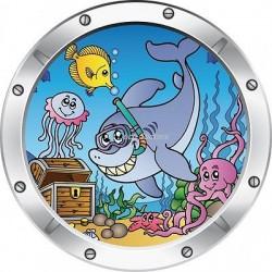 Sticker hublot enfant trompe l'oeil Poisson Dauphin 024