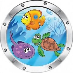 Sticker hublot enfant trompe l'oeil Vue sous marine 027
