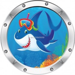 Sticker hublot enfant trompe l'oeil Requin 032
