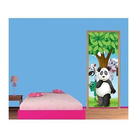 papier peint porte enfant panda 1724 stickers muraux enfant. Black Bedroom Furniture Sets. Home Design Ideas