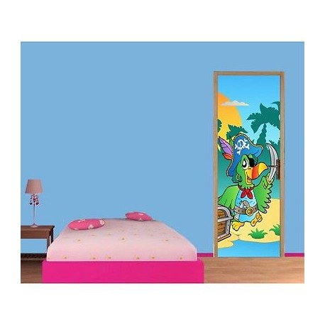 papier peint porte enfant perroquet pirate 713 stickers. Black Bedroom Furniture Sets. Home Design Ideas