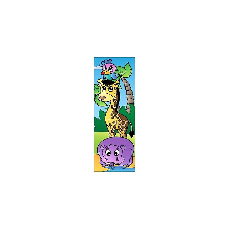 peint pour porte > Papier peint porte enfant animaux de la jungle 703
