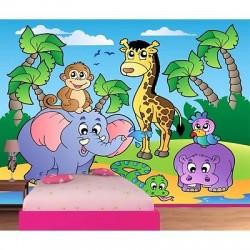 Papier peint enfant géant Animaux de la jungle 602